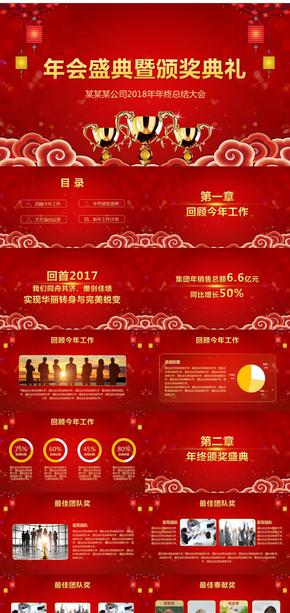 【中国红】2018年年会盛典暨颁奖典礼PPT模板