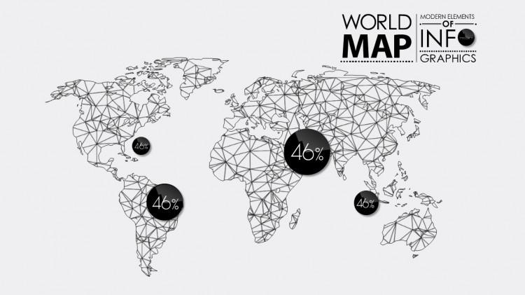 扁平化商务矢量素材之世界地图