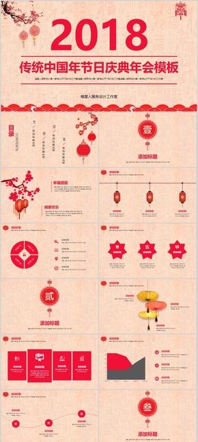 【传统中国年】节日庆典企业年会年终总结部门汇报员工颁奖模板