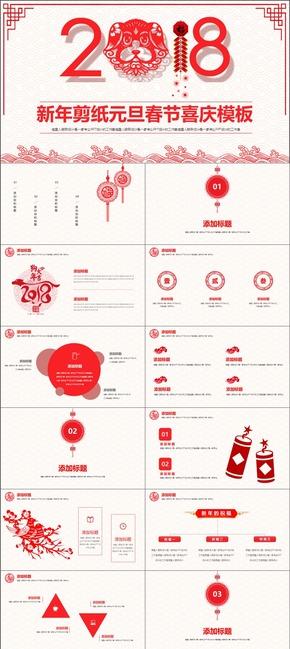 【新年剪纸】年终总结部门汇报节日庆典公司年会中国风精美模板