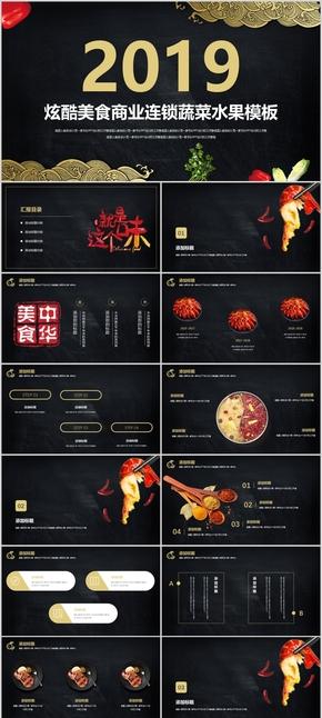 【酷炫美食】美食蔬菜水果美食街餐厅推广精美商业计划书模板