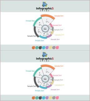 【微立体】华丽分区聚合关系图表