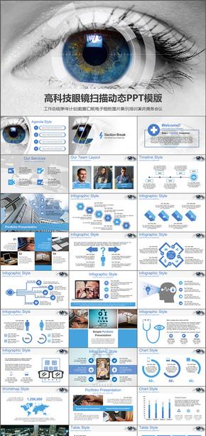 现代高科技扫描眼睛互联网大数据工作总结计划书PPT模版