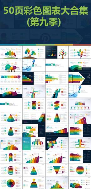 50页彩色扁平化数据图表图标合集PPT模版第九季