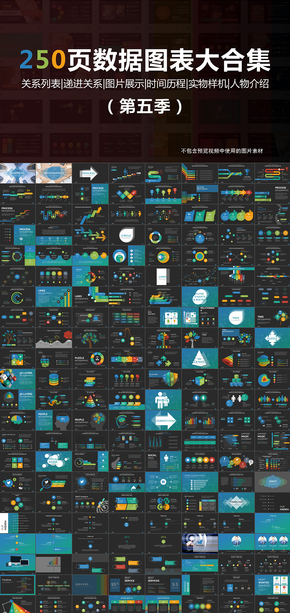 250页彩色扁平化数据图表大合集PPT第五季