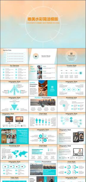 水彩风格工作总结商业创业计划书动态PPT模版