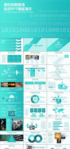 现代高科技互联网大数据工作总结计划书PPT模版