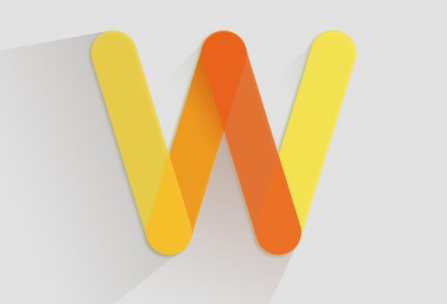 作品标题:橙色黄色英文字母w光影