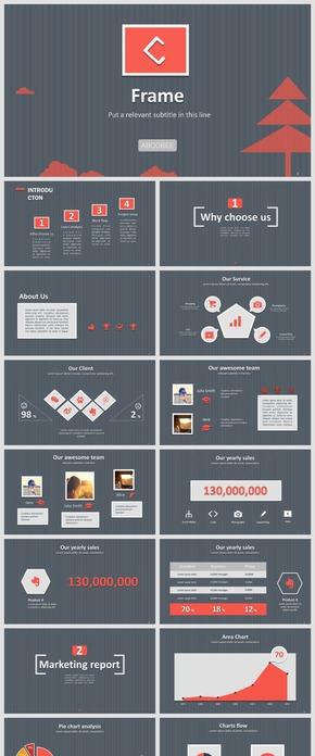 精美立體畫框風格商務報告PPT模板紅黑經典