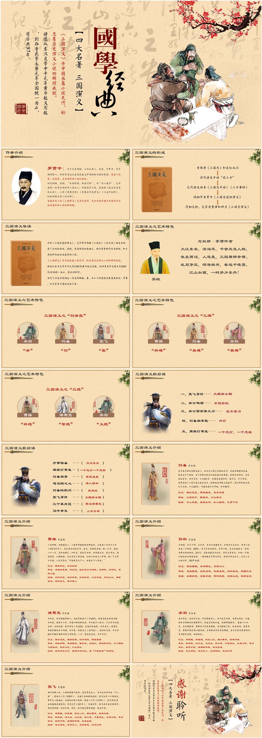 古风国学经典四大名著三国演义PPT下载–演界网