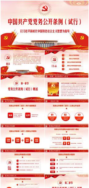 学习贯彻中国共产党党务公开条例(试行)PPT模板心得体会培训