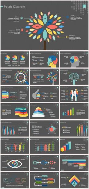 创意七彩信息图表数据分析统计ppt图表