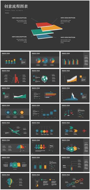 立体欧美数据分析统计业务图表ppt模板