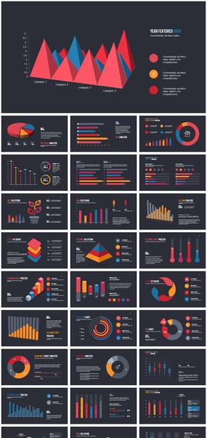彩色3D立体商务数据统计分析动态ppt模板