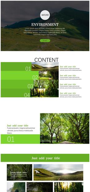 【小谢】自然、环境、环保绿色清新PPT模板