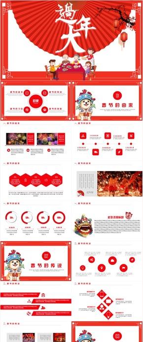 新年快乐喜庆节日春节新年大拜年立体动态恭贺PPT模板