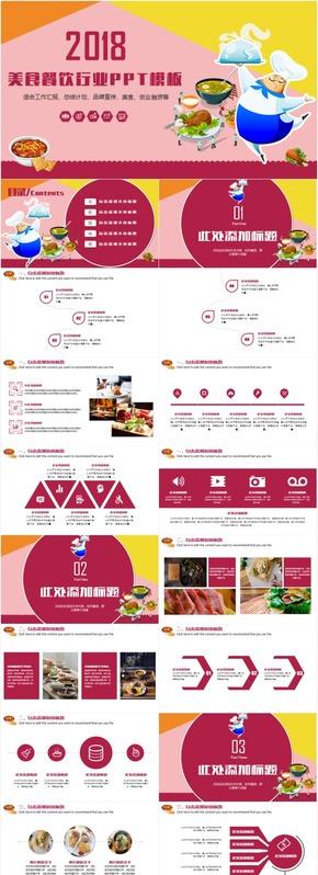 创意卡通餐饮美食工作汇报总结计划创意计划发布会PPT模板