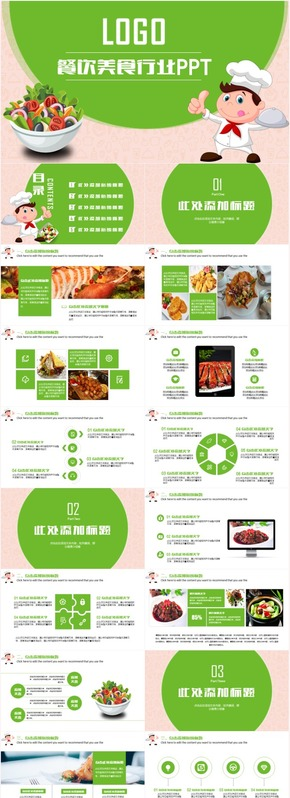 清新绿色餐饮美食酒店策划餐厅行业工作计划总结创业PPT模板
