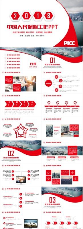 中国人民保险人保工作汇报产品发布PPT模板