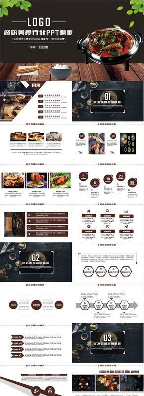 最新大气美食餐饮酒店餐厅工作汇报总结计划创业计划ppt模板