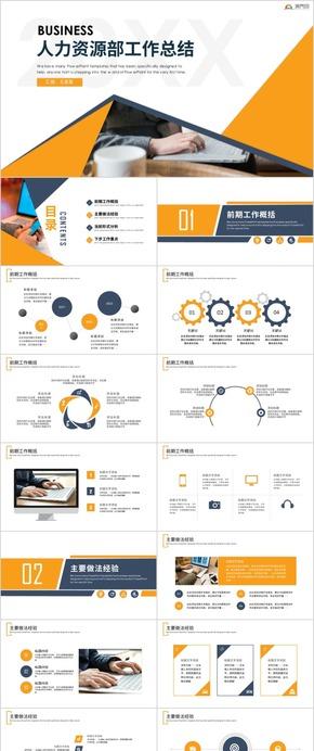 人力资源部工作总结及规划商务报告通用PPT模板