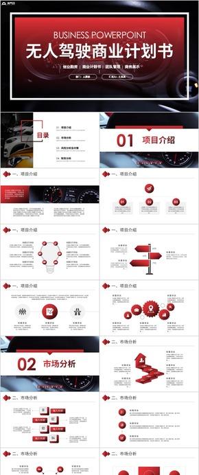 無人駕駛無人車商業計劃書工作總結PPT模板
