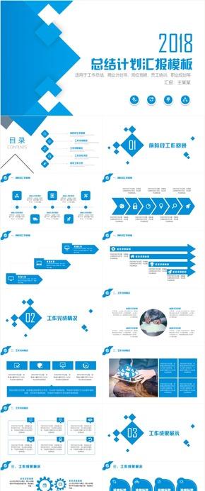 蓝色经典商务汇报工作总结工作汇报计划PPT模板
