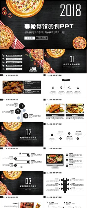 创意美食餐饮西餐厅酒店饭店策划营销计划ppt模板