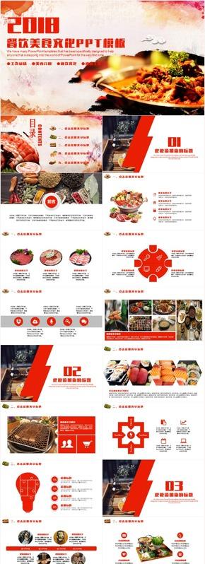 红色大气美食餐饮行业酒店餐厅宣传推广工作汇报总结计划PPT