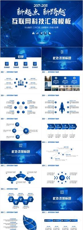 创业大气互联网科技云计算大数据IT工作商业计划书PPT模板