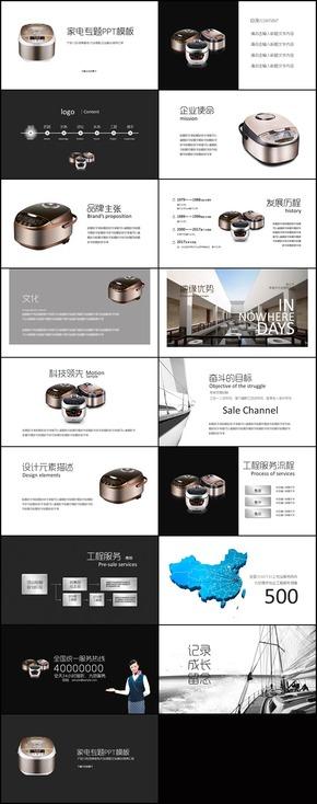 家电厨具电饭煲产品介绍品牌宣传市场调研行业峰会商务汇报PPT模板