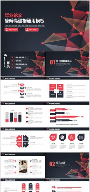 高端红黑毕业设计毕业论文答辩通用PPT模板
