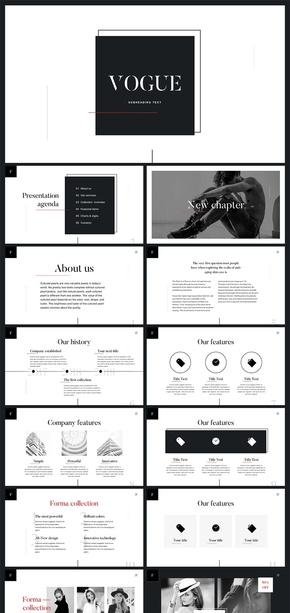 黑白时尚品牌宣传介绍市场推广PPT模板