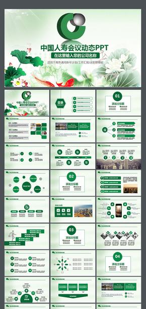 中国人寿工作报告PPT 工作报告 项目推广 企业简介 会议 业绩 培训 计划 年终总结