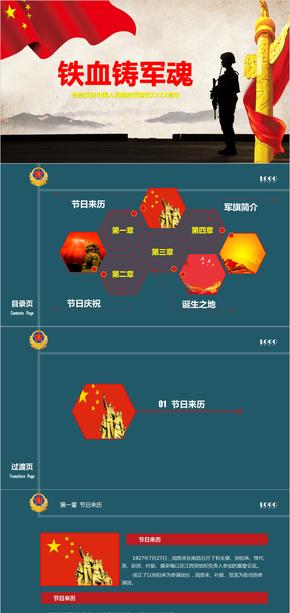 八一建军节崇尚英雄党政主题通用PPT模板