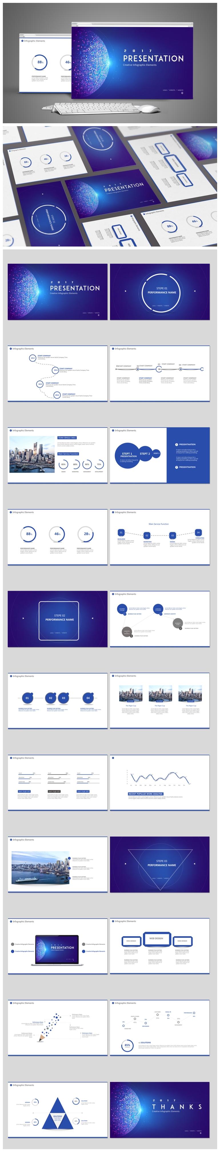 蓝色炫目商务科技风工作汇报年终总结项目汇报ppt模板
