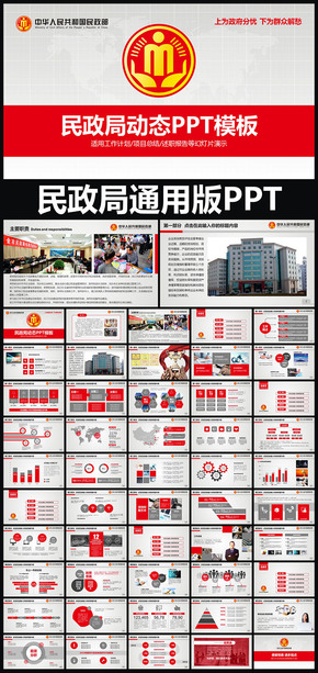 中华人民共和国民政部民政局动态ppt专用模板 述职报告 工作总结 工作汇报 年终总结 新年计划