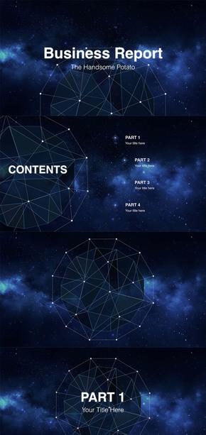 蓝色星空大气模板keynote
