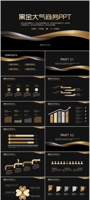 大气简约时尚个性2018黑色金色线条总结计划汇报演讲商务报告2017年终总结