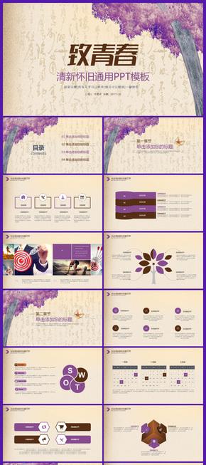 紫色怀旧小清新淡雅商务汇报演讲会议活动同学会2017工作计划