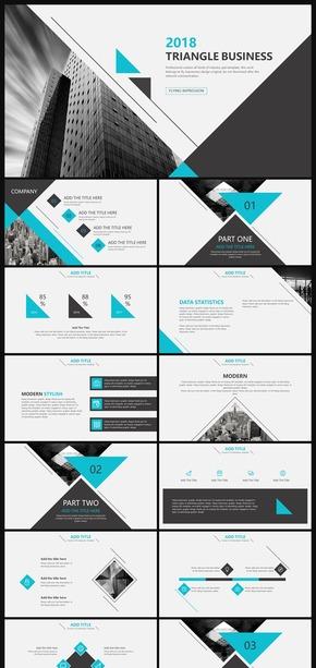 线条三角形商务模板