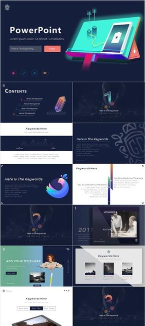 【渐变】深蓝主题半鼠绘科技iOS风格22页模板
