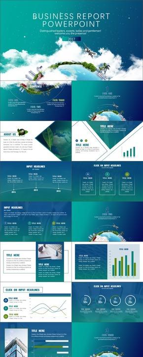 蓝绿环保商务模板