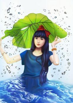 雨中人物抠图素材
