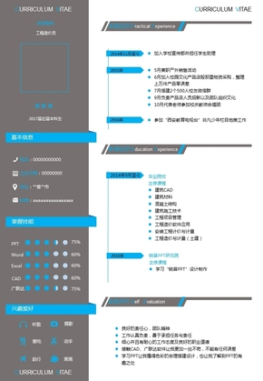 個人PPT簡歷模板,一頁簡歷,單頁簡歷