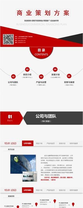 红色白色立体商业计划书总结工作汇报PPT模板