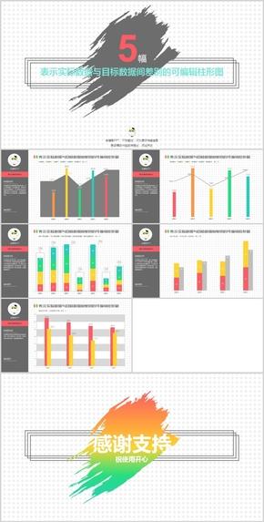 精品炫彩表示实际数据与目标数据间差别的可编辑柱形图模板