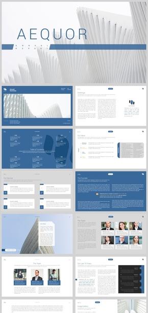 2018蓝色企业画册商务PPT模板
