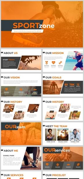 2018橙色运动健身汇报PPT模板