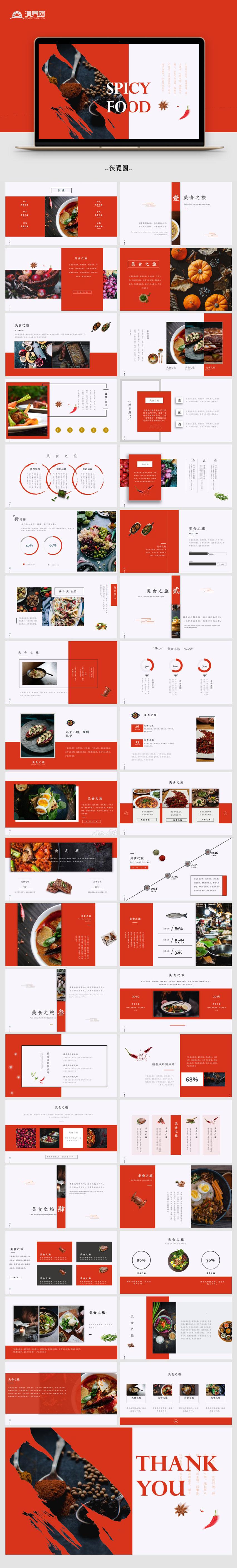 【杂志风】红色餐饮美食杂志风简约模板